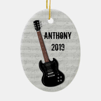 Guitar Photo Template on Back Ceramic Ornament