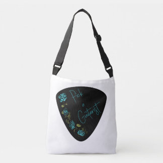 Guitar Pick - Pick A Guitarist with Blue Roses Crossbody Bag