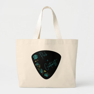 Guitar Pick - Pick A Guitarist with Blue Roses Large Tote Bag