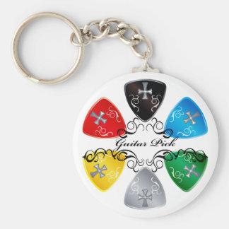 Guitar Pick Round Keychain