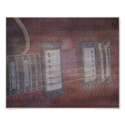 Guitar pickups grunged music faded photographic print