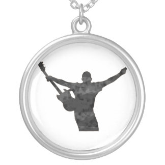 guitar player hands up faded shadow patchy silver plated necklace