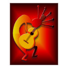 Guitar Player in Red Poster