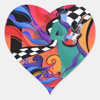 Guitar Player Musician Colorful Pop Art Style Heart Sticker
