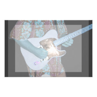 guitar player painting blue neat abstract musician stationery
