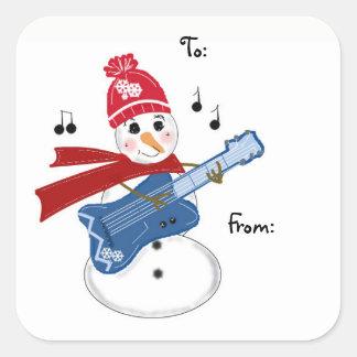 Guitar Player Snowman Square Sticker