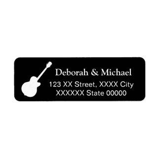 guitar player's rock couple black return address label