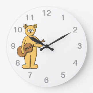 Guitar Playing Bear. Large Clock