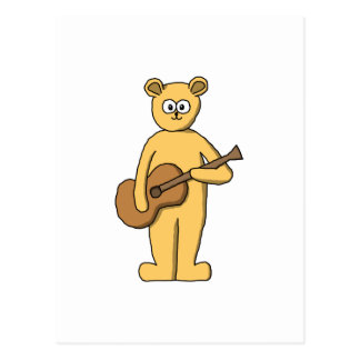 Guitar Playing Bear. Postcard