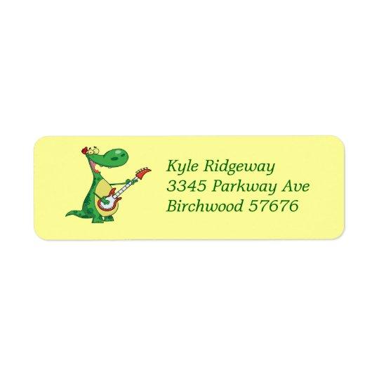 Guitar playing Dinosaur   Return Address Label