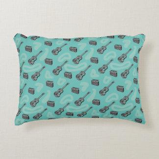 Guitar Radio Pattern Choose Color Background P Decorative Pillow