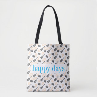 Guitar Radio Pattern Happy D Custom Tote Bag