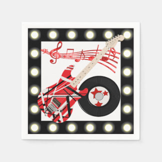 Guitar Record and Music Notes With Light Border Disposable Napkins