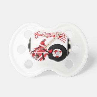Guitar Record and Music Notes With Light Border Pacifier