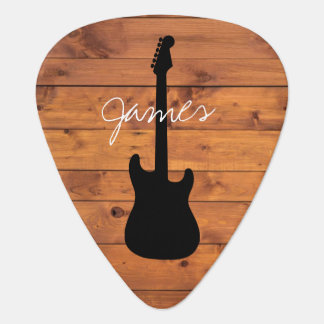Guitar Rustic Wood Handwritten Name Guitar Pick