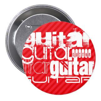 Guitar; Scarlet Red Stripes 3 Inch Round Button