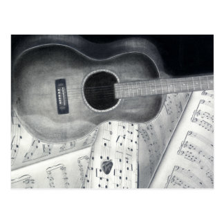 Guitar & Sheet Music Postcard