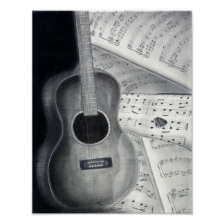 Guitar & Sheet Music Poster Art