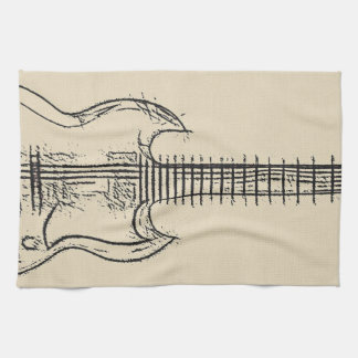 Guitar Sketch Kitchen Towel