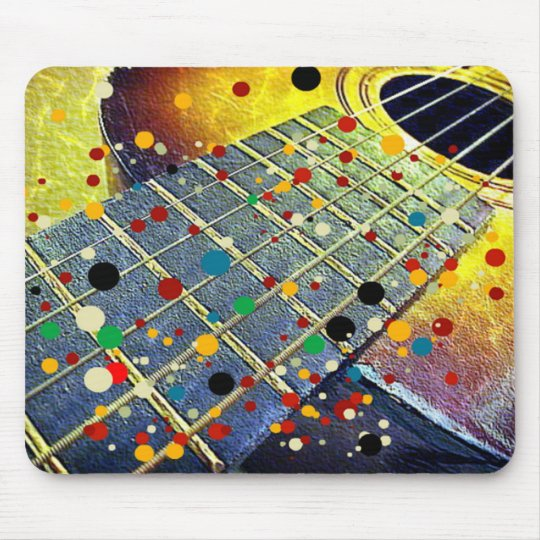 Guitar strings music vintage colourful mouse pad