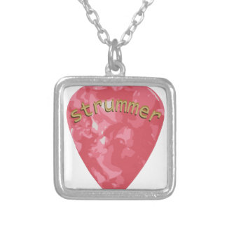 Guitar Strummer Silver Plated Necklace