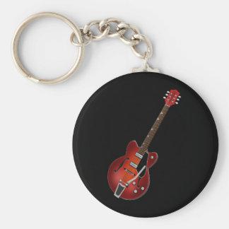 Guitar Sunburst Hollow Body Basic Round Button Keychain