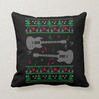 Guitar Ugly Christmas Throw Pillow