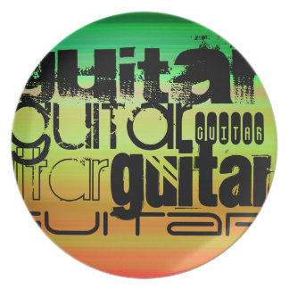 Guitar; Vibrant Green, Orange, & Yellow Party Plate