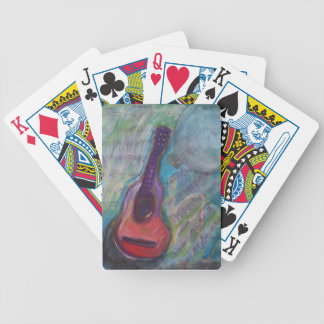 Guitar with music and moon. bicycle playing cards