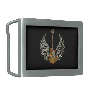 Guitar with wings belt buckle