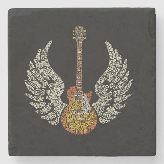 Guitar with wings stone coaster