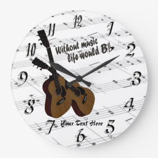 Guitar  Without Music Life Would B Flat Wall Clock