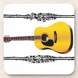 guitar yellow and tan beverage coaster