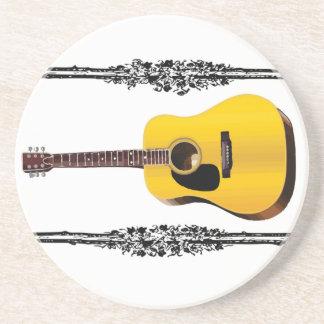 guitar yellow and tan coaster