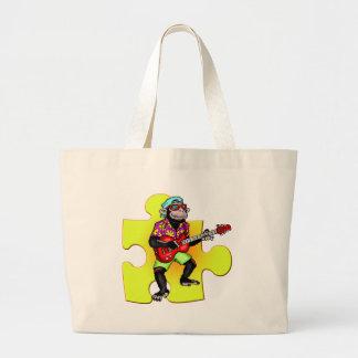 Guitare jouant le singe sac en toile jumbo
