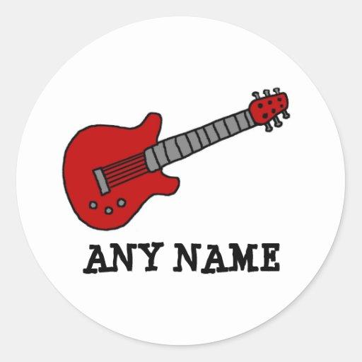Guitare rouge de Rockin Autocollant