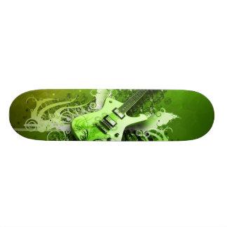 Guitare verte plateau de skate