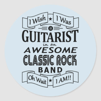 GUITARIST awesome classic rock band (blk) Classic Round Sticker