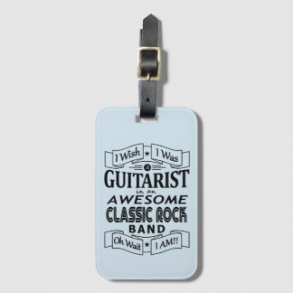 GUITARIST awesome classic rock band (blk) Luggage Tag