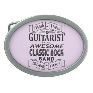 GUITARIST awesome classic rock band (blk) Oval Belt Buckles