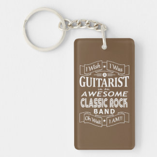 GUITARIST awesome classic rock band (wht) Keychain