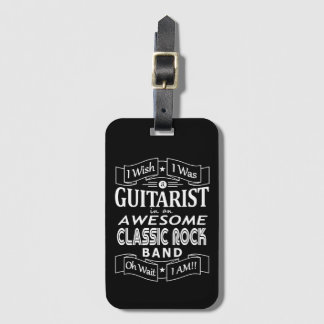 GUITARIST awesome classic rock band (wht) Luggage Tag