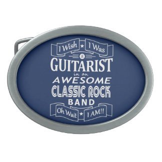 GUITARIST awesome classic rock band (wht) Oval Belt Buckle