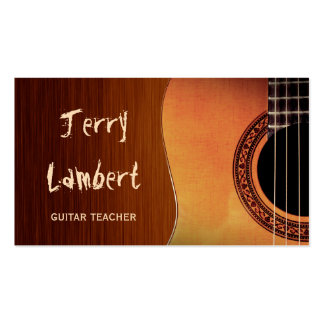Guitarist Guitar Player Teacher Stylish Wood Look Pack Of Standard Business Cards