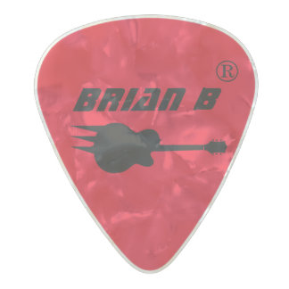 guitarist name personalized red pearl celluloid guitar pick