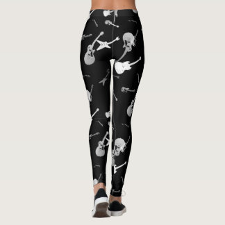 Guitars Rock Black White Leggings