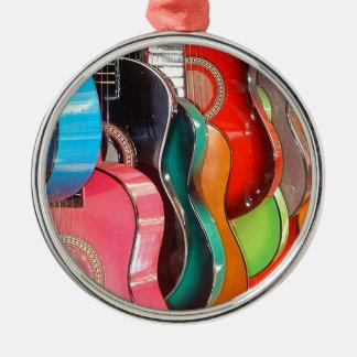 Guitars Silver-Colored Round Ornament