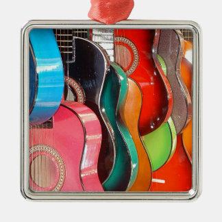 Guitars Silver-Colored Square Ornament