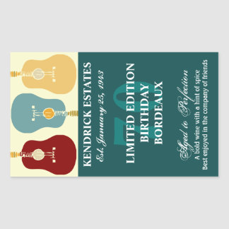 Guitars Wine Label - Teal (750ml)
