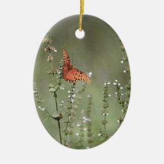 Gulf Fritillary Butterfly Ceramic Ornament